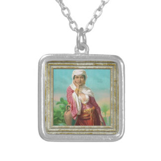 Lady With Pink Blouse Silver Plated Necklace