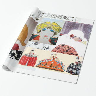 LADY WITH RED ROSE,ART DECO BEAUTY FASHION COSTUME GIFT WRAPPING PAPER