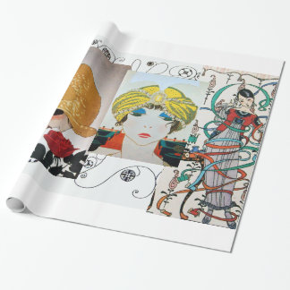 LADY WITH RED ROSE,ART DECO BEAUTY FASHION COSTUME WRAPPING PAPER