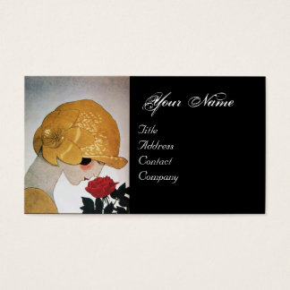 LADY WITH RED ROSE BEAUTY FASHION COSTUME DESIGNER BUSINESS CARD