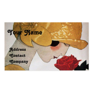 LADY WITH RED ROSE BEAUTY FASHION COSTUME DESIGNER PACK OF STANDARD BUSINESS CARDS