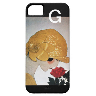 LADY WITH RED ROSE MONOGRAM BARELY THERE iPhone 5 CASE