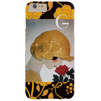 LADY WITH RED ROSE MONOGRAM BARELY THERE iPhone 6 PLUS CASE