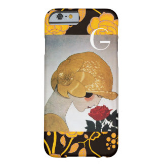 LADY WITH RED ROSE MONOGRAM BARELY THERE iPhone 6 CASE
