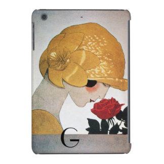 LADY WITH RED ROSE MONOGRAM iPad MINI CASE