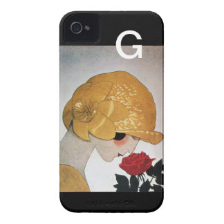 LADY WITH RED ROSE MONOGRAM iPhone 4 COVER