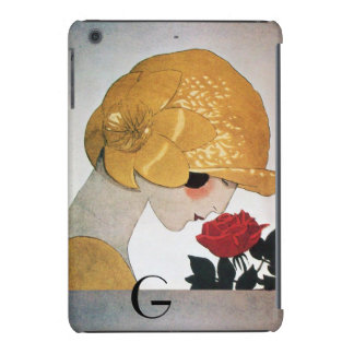 LADY WITH RED ROSE MONOGRAM iPad MINI CASE