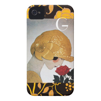 LADY WITH RED ROSE MONOGRAM iPhone 4 Case-Mate CASE