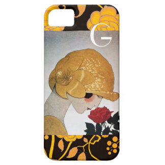 LADY WITH RED ROSE MONOGRAM iPhone 5 CASE
