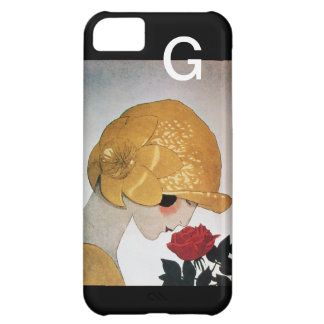 LADY WITH RED ROSE MONOGRAM iPhone 5C CASE