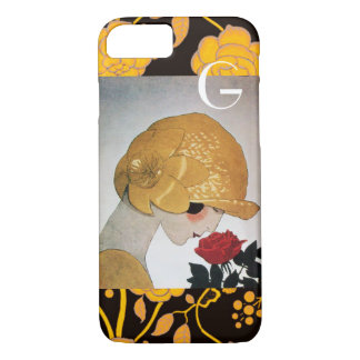 LADY WITH RED ROSE MONOGRAM iPhone 7 CASE