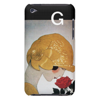 LADY WITH RED ROSE MONOGRAM iPod TOUCH CASES