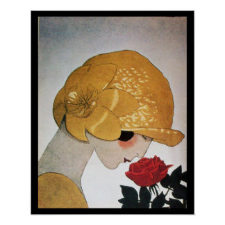 LADY WITH RED ROSE POSTER
