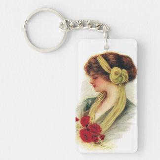 Lady with Roses Single-Sided Rectangular Acrylic Key Ring