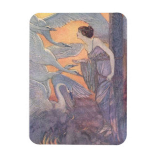 Lady with Six Swans, Rectangular Photo Magnet