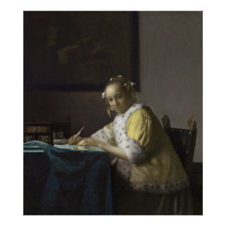 Lady Writing a Letter by Johannes Vermeer Matte Poster