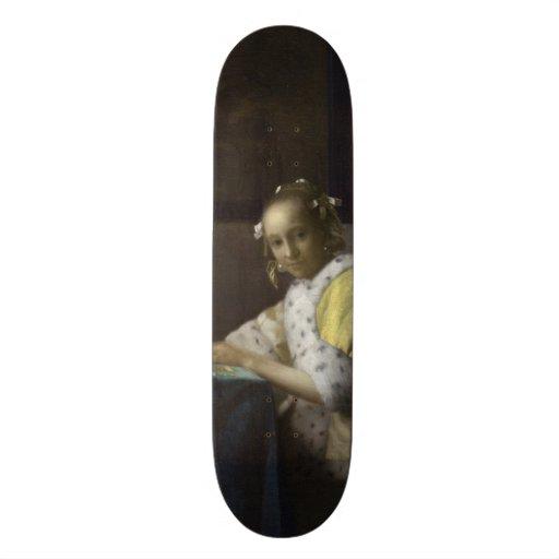 Lady Writing a Letter by Johannes Vermeer Skateboard Decks
