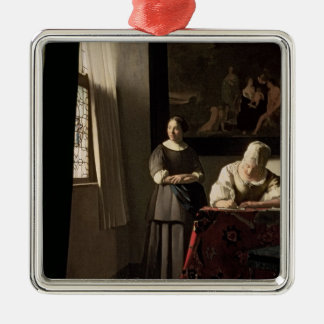 Lady writing a letter with her Maid, c.1670 Christmas Ornament