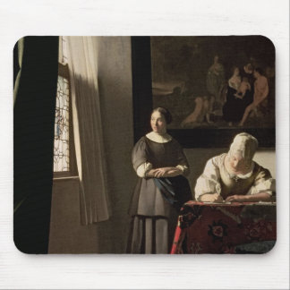 Lady writing a letter with her Maid, c.1670 Mouse Mat
