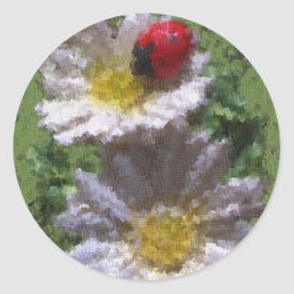 Ladybird and Daisies Classic Round Sticker