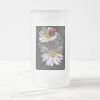 Ladybird and Daisies Frosted Glass Beer Mug