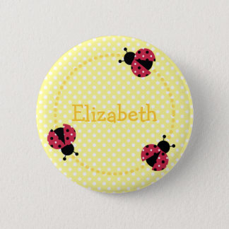 Ladybird badge/button 6 cm round badge