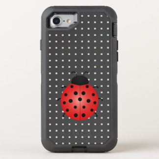 Ladybird Cartoon Geometric Pattern Black Squares OtterBox Defender iPhone 8/7 Case