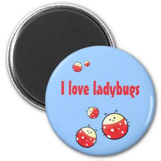 Ladybird Family 6 Cm Round Magnet