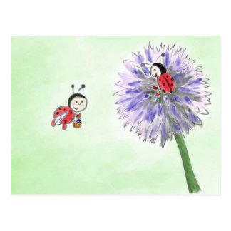 Ladybird flowers postcard greeting