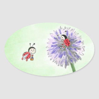 Ladybird flowers sticker greeting oval