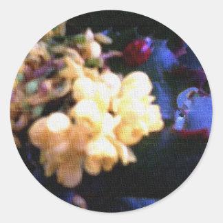 Ladybird in Yellow Flowers Round Sticker