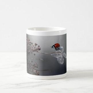 Ladybird on old hydrangea mug