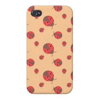 Ladybird Pattern, Bugs on Orange Background iPhone 4/4S Covers