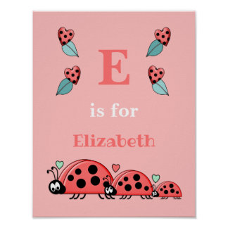 Ladybirds alphabet name pink Nursery Poster