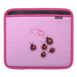 Ladybirds and hearts on pink iPad sleeve