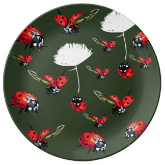 Ladybirds Green Decorative Porcelain Plate