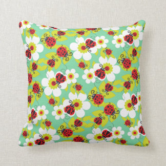 Ladybirds / ladybugs red teal green & white pillow cushions