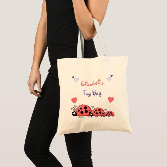 Ladybirds personalised toy tote bag