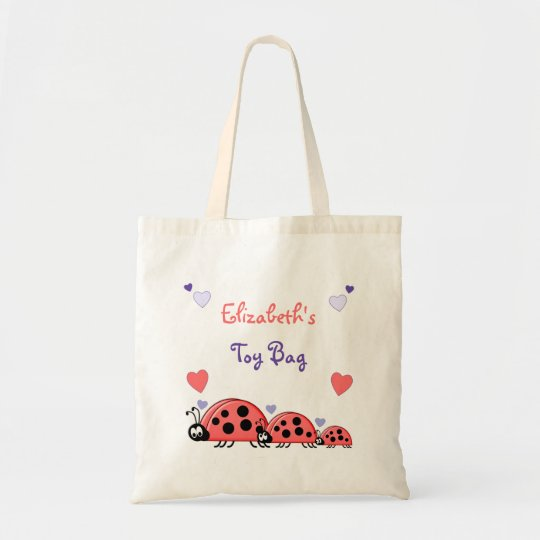 Ladybirds personalised toy tote bag