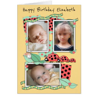 Ladybirds Personalized Birthday for kids Card