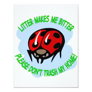 ladybug 11 cm x 14 cm invitation card