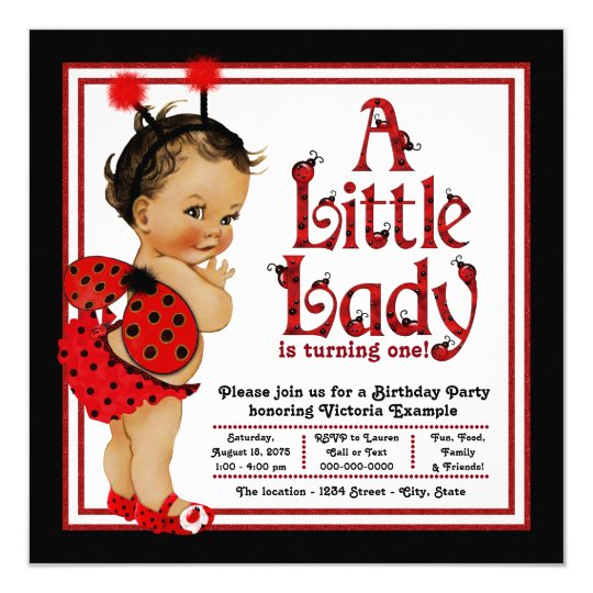 Ladybug 1st Birthday Party Invitations