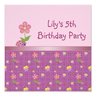 Ladybug 5th Birthday Party Pink Invitation