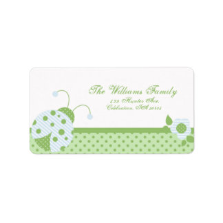 Ladybug Address Label-blue-green Label