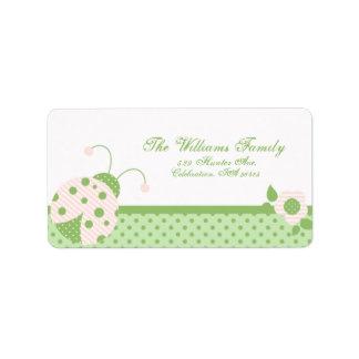 Ladybug Address Label-pink-green Label