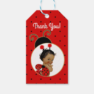 Ladybug African American Baby Girl Red & Black Gift Tags