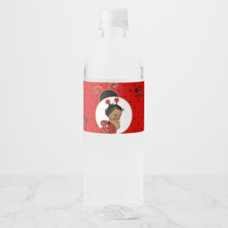 Ladybug African American Baby Girl Red & Black Water Bottle Label