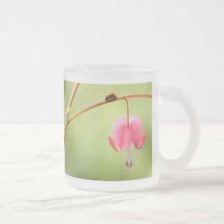Ladybug and Bleeding Heart Flower Coffee Mugs