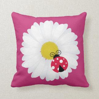 Ladybug and daisy white flower kids room nursery cushion