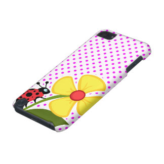Ladybug and Flower on Fuchsia Polka Dots iPod Touch 5G Case